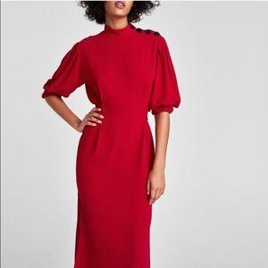 Zara | (XS) Puff Sleeve Dress with Self-Tie Belt